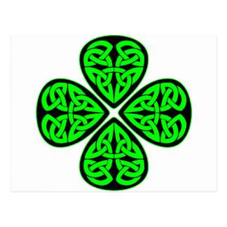 4 Leaf Celtic Shamrock Post Cards