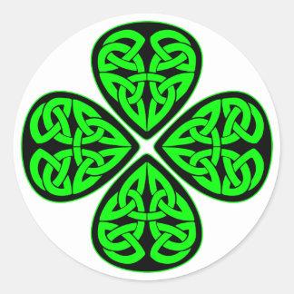 4 Leaf Celtic Shamrock Round Sticker