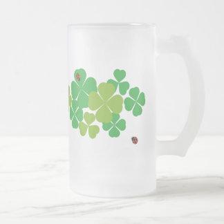 4 Leaf Clover and Ladybug_St. Patrick's Day Frosted Glass Beer Mug