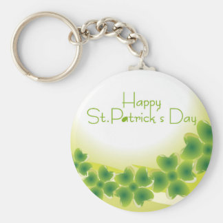 4 leaf clover for St.Patrick's Day Basic Round Button Keychain