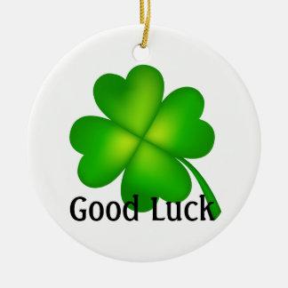 4 leaf clover, Good Luck! Ceramic Ornament
