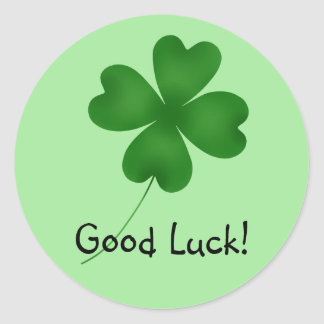 4 leaf clover, Good Luck! Classic Round Sticker