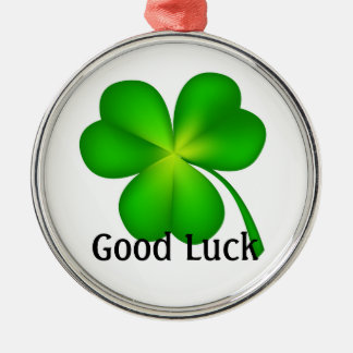 4 leaf clover, Good Luck! Metal Ornament