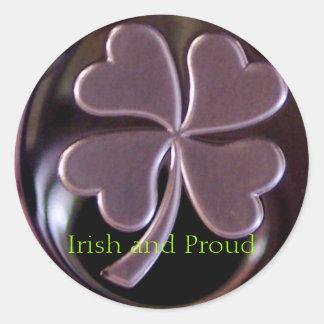 4 leaf clover IRISH PROUD Round Sticker