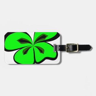 4 leaf clover luggage tag