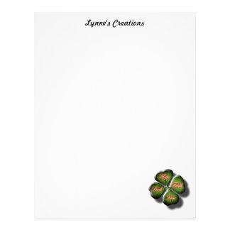 4 Leaf Clover with Hope, Faith, Love and Luck Letterhead