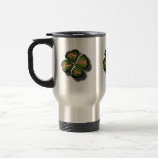 4 Leaf Clover with Hope, Faith, Love and Luck Travel Mug