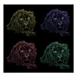 4 Lions Looking Posters