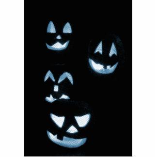 4 Lit Jack-O-Lanterns - Blue Photo Sculpture