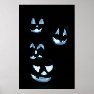 4 Lit Jack-O-Lanterns - Blue Posters