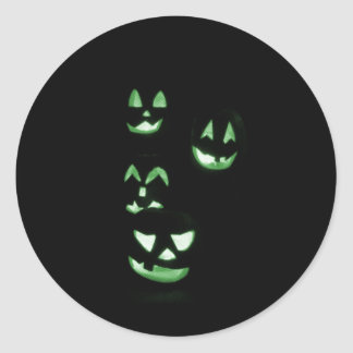 4 Lit Jack-O-Lanterns - Green Classic Round Sticker