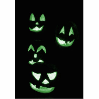 4 Lit Jack-O-Lanterns - Green Cutout