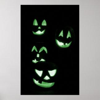 4 Lit Jack-O-Lanterns - Green Posters