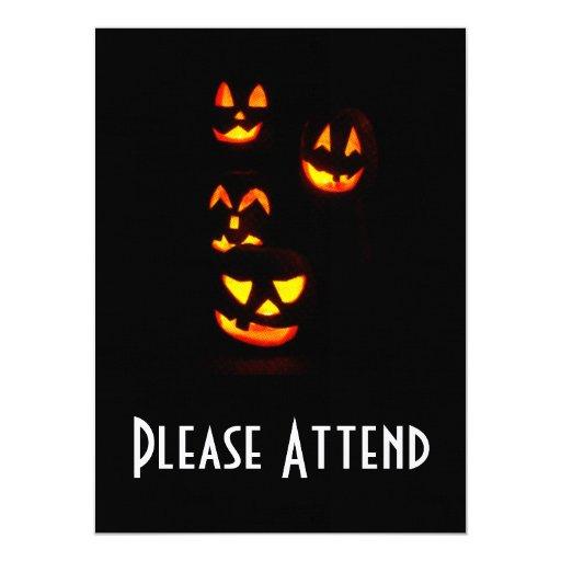 4 Lit Jack-O-Lanterns - Orange Halloween 5.5x7.5 Paper Invitation Card