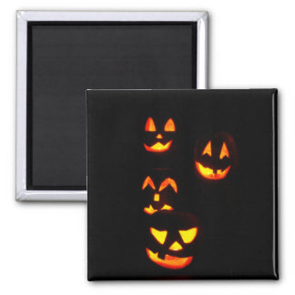 4 Lit Jack-O-Lanterns - Orange Magnet
