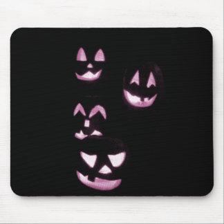 4 Lit Jack-O-Lanterns - Pink Mouse Pad