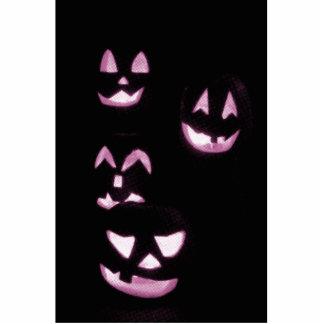 4 Lit Jack-O-Lanterns - Pink Photo Cutout
