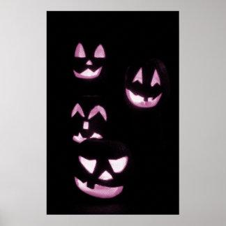 4 Lit Jack-O-Lanterns - Pink Print