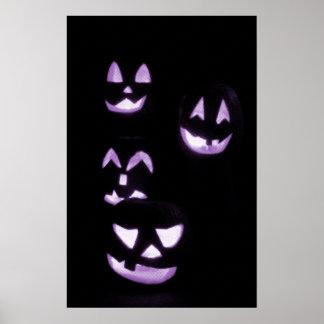 4 Lit Jack-O-Lanterns - Purple Posters