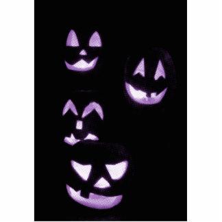 4 Lit Jack-O-Lanterns - Purple Statuette