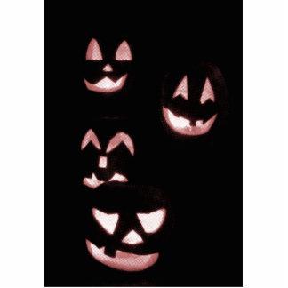 4 Lit Jack-O-Lanterns - Red Cutout