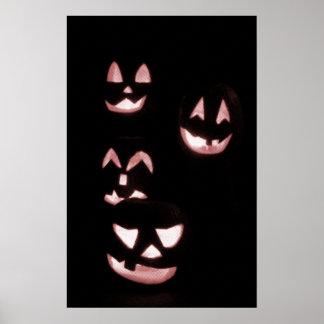 4 Lit Jack-O-Lanterns - Red Posters