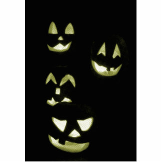 4 Lit Jack-O-Lanterns - Yellow Cutout