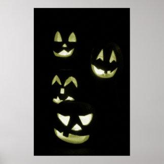 4 Lit Jack-O-Lanterns - Yellow Print