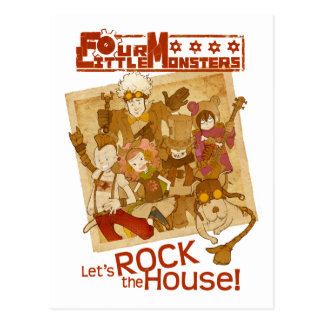 4 Little Monsters - Let's Rock the House Post Cards