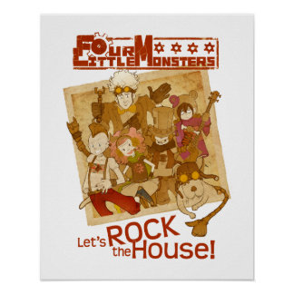 4 Little Monsters - Let's Rock the House Print
