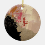 4 Little Monsters - Walking Through Town Double-Sided Ceramic Round Christmas Ornament