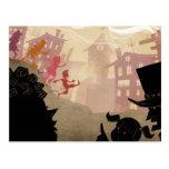 4 Little Monsters - Walking Through Town Postcard