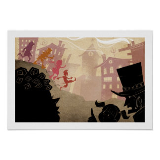 4 Little Monsters - Walking Through Town Poster