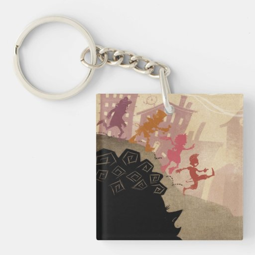 4 Little Monsters - Walking Through Town Single-Sided Square Acrylic Keychain