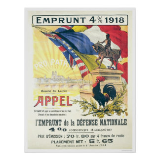 4% loan 1918...National Defense Loan French Poster