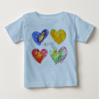 4 Love Hearts Cute Infant Tshirt  Blue Two Sided