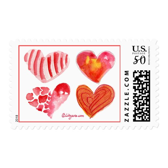 4 Love Hearts Postage Stamps