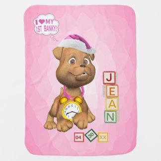 4 Ltr Name Version Puppy Design Customize It Banky Swaddle Blanket