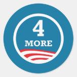 4 más años Obama 2012 Pegatina Redonda