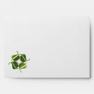 4 metallic green leaves envelopes