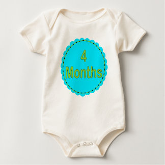 4 Months Teal & Lime Baby Outfit Baby Bodysuit