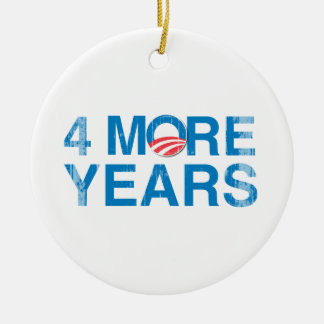 4-MORE-YEARS-OF-OBAMA Vintage.png Double-Sided Ceramic Round Christmas Ornament