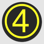 4 - number four classic round sticker