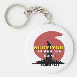 #4 NYC Survived Hurricane Irene Basic Round Button Keychain