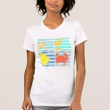 Beach Themed 4 Ocean Design Squares T-Shirt