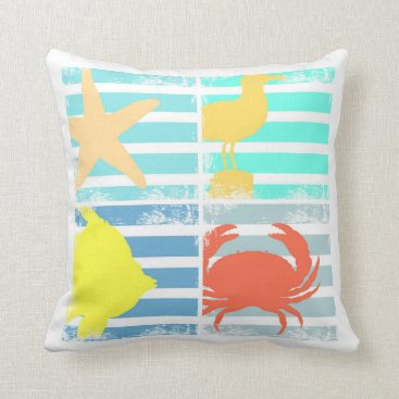 Beach Themed 4 Ocean Design Squares Throw Pillow