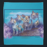 """4 of a Kind Bandana<br><div class=""""desc"""">This product I made into a template so you can change the background or add a name or saying.4 adorable kitties illustration About:Well crafted kittens against dark sky vignette done in a pen &amp; ink style This I made into Template so have fun choose your own background &amp; text God...</div>"""