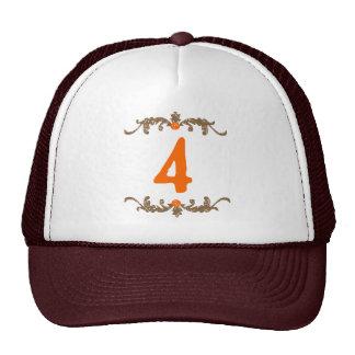 #4 Orange & Brown Scroll Trucker Hat
