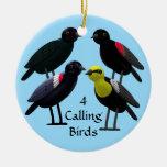 4 pájaros de llamada adorno navideño redondo de cerámica
