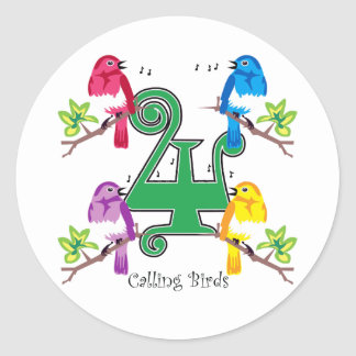 4 pájaros de llamada etiqueta redonda